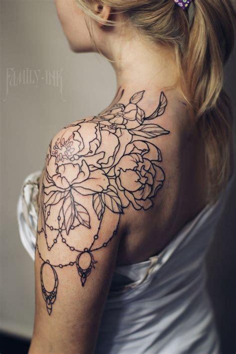 shoulder tattoo flowers ideas  pinterest