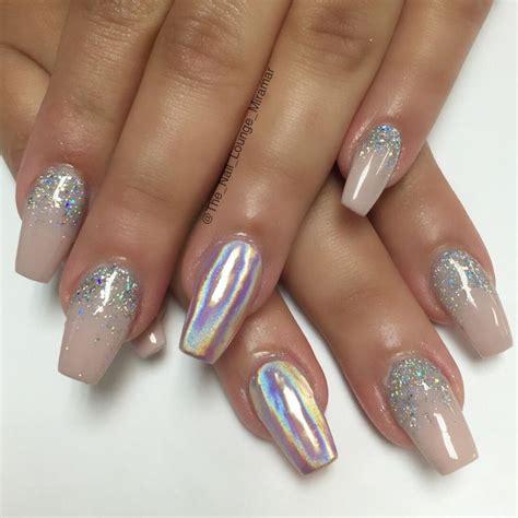 holographic chrome glitter ombre nail art design chrome