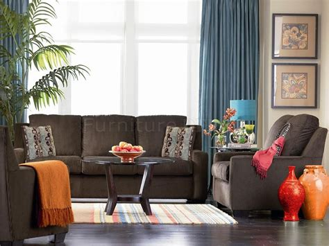 brown livingroom chocolate brown chenille contemporary living room sofa w