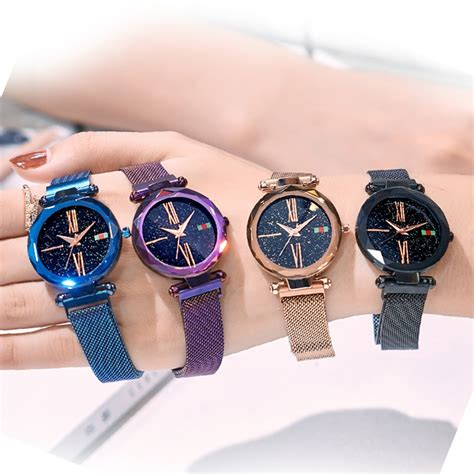 luxury rose gold women watches girls starry sky magnet