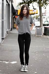 Sneakers outfit Striped top black jeans and black converse. | Must have! | Pinterest | Black ...