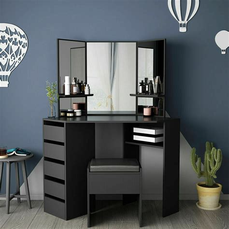 corner dressing table with mirror stool 5 drawer