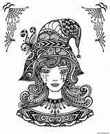 Coloring Halloween Adults Witch Printable sketch template
