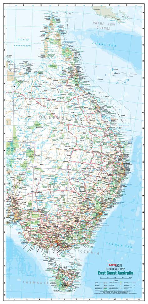 east coast australia laminated wall map
