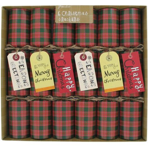 romanov luxury christmas crackers 30cm tartan tag crackers box of 6 from paperchase