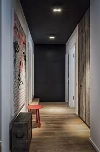 Couloir Gris Et Blanc : couloir plafond fonc et porte invisible entrance corridor en 2019 plafond noir agence ~ Melissatoandfro.com Idées de Décoration