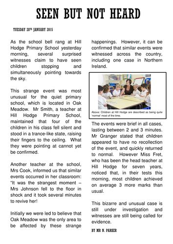 newspaper report  teaching resources