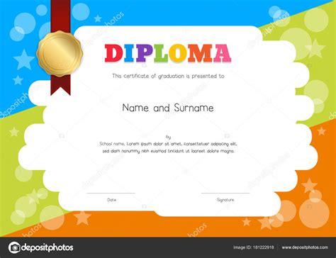 fondo plantilla diplomas infantiles plantilla de diploma o certificado de los ni 241 os con