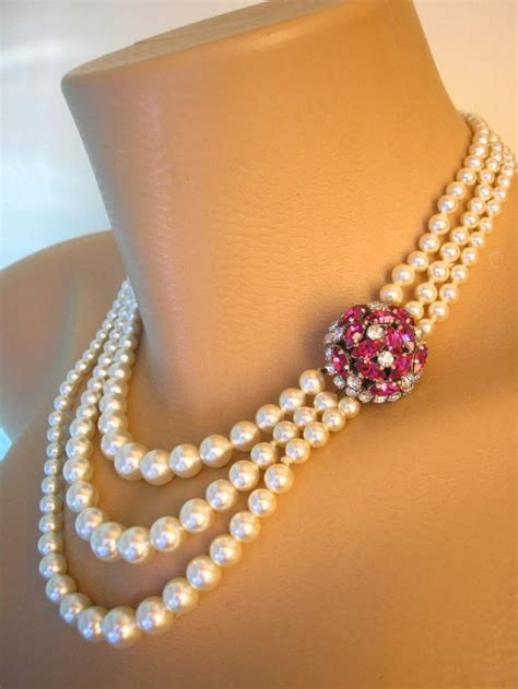 Ruby Choker, Pearl Choker, Pearl Necklace, Mother Of The