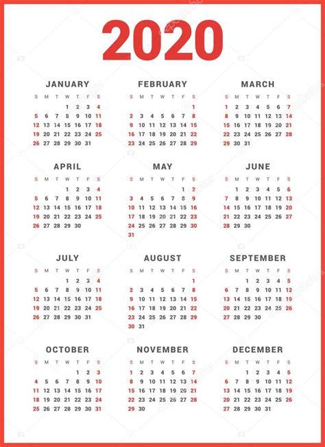 kalendar pro rok na bilem pozadi zacatek tydne nedele jednoduchy