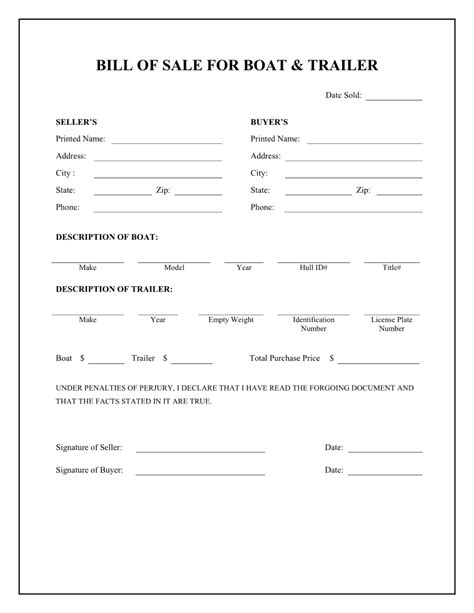 Blank Bill Of Sale For Boat And Trailer by Free Boat Trailer Bill Of Sale Form Pdf Word