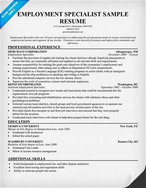 Employment Specialist Resume Objective by Employment Specialist Resume Objective