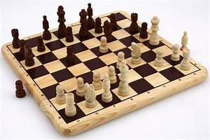 Nice Chess Game On Massive Wooden Board With Inlays