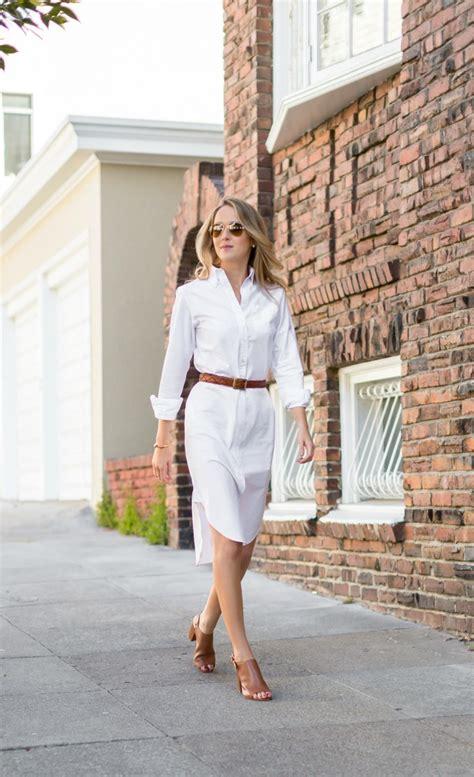 classic white knee length shirt dress