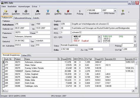 drg software medical wiki hauptfenster