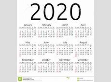 Vector Calendar 2020, Sunday Stock Vector Image 62409062