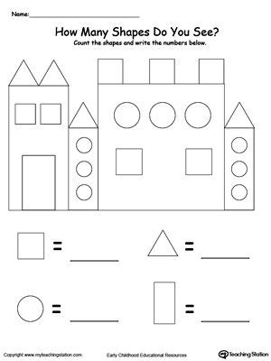 recognize and count the shapes in the castle school 672 | 75ea0a47b0aa4bf2f1309d1163db22b6 kindergarten shapes kindergarten geometry