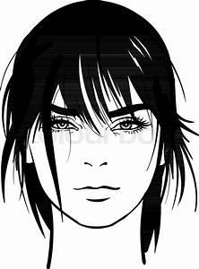 Woman Portrait  Digital Sketch Hand Drawing Vector  Black