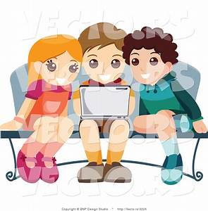 Vector of Young Girl and Two Boys Using a Laptop Computer ...