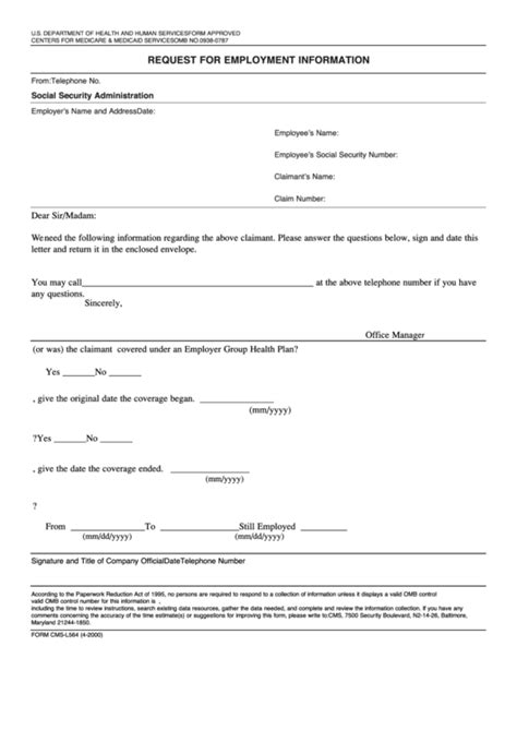 form cms l564 request for employment information