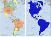 The left panel is the traditional maps of North, South ...