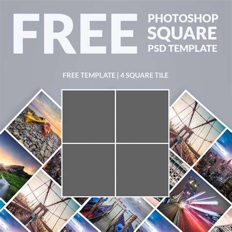 photoshop template photo collage square