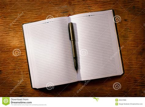 Open Notebook On The Table And Ballpoint Pen Stock Photo  Image 45047868