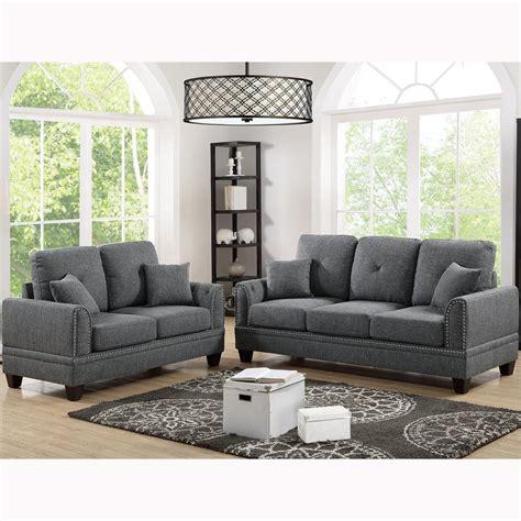 Sofa Set For Home by Venetian Worldwide Majella 2 Ash Black Sofa Set Vene