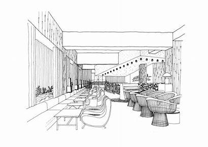 Sketch Perspective Interior Drawing Restaurant Hotel Point