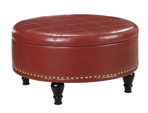 Augusta Storage Ottoman Crimson Red Bonded Leather