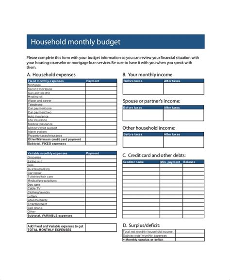 sample monthly budget  examples   word excel