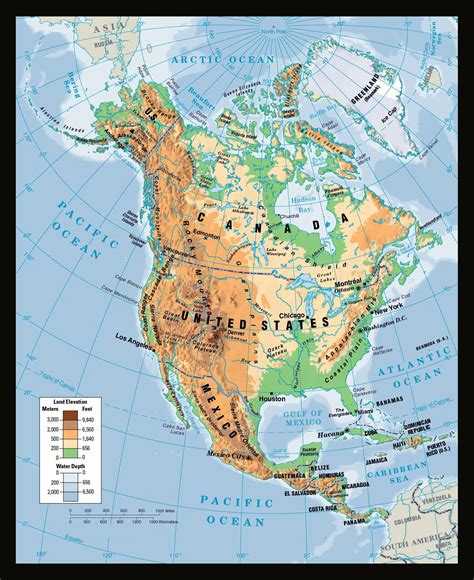 large physical map  north america north america