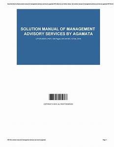 Solution Manual Management Advisory Services By Agamata