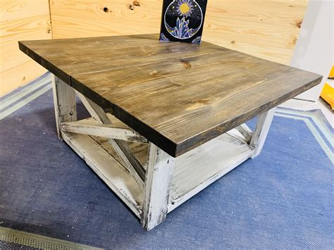 Farmhouse coffee table, square design with x side panels and bottom shelf, drift by efurnish (1) sale. Rustic Farmhouse Coffee Table with Espresso Top and Distressed   Etsy   Coffee table farmhouse ...