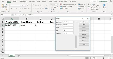 excel data form  quickly add data   worksheet