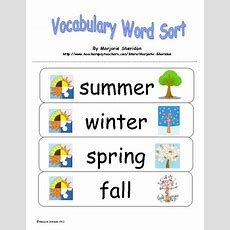 Vocabulary Sort  Seasons! By Marjorie Sheridan Tpt