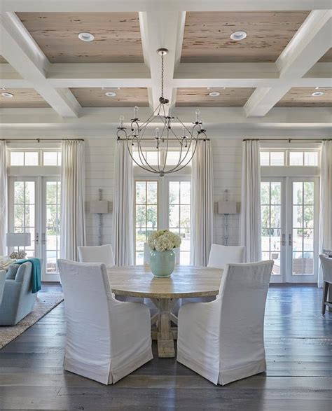 coffered ceiling  pecky cypress trim cottage