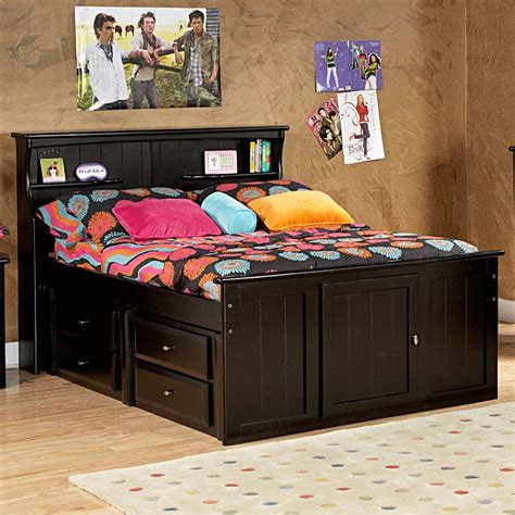 full storage bed bookcase headboard black cherry dcg stores