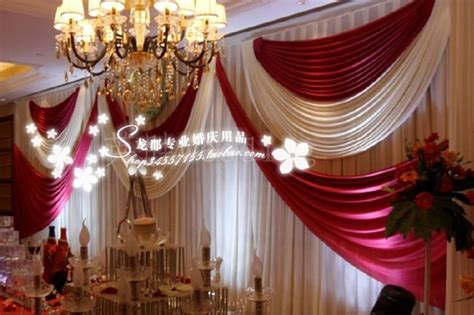 Luxury White And Red Wedding Backdrop \ Stage Curtain 10ft