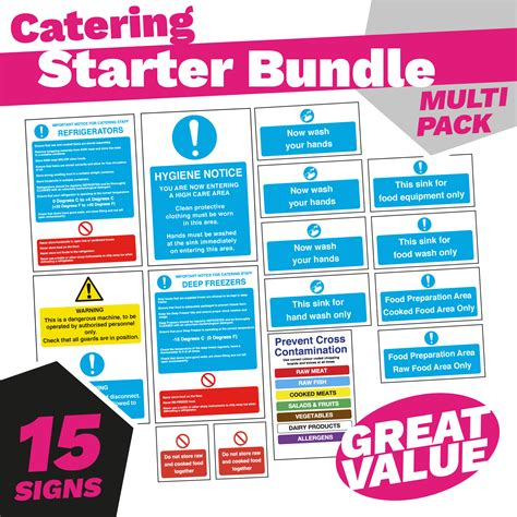 Kitchen Safety Labels by Kitchen Safety Sign Bundle