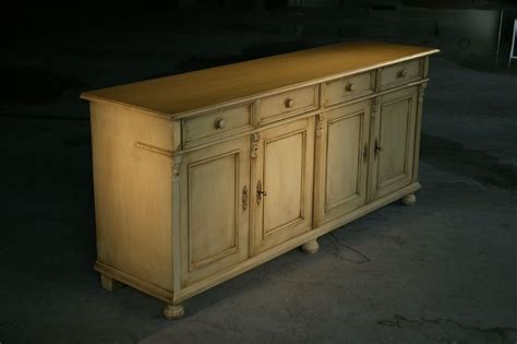 hand  country style white kitchen hutch buffet