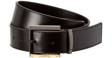 Versace Collection Leather Belt In Black For Men