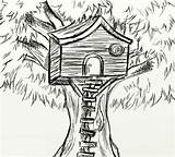 Coloring Treehouse Sketch Drawing Tree Sketches Colorluna sketch template