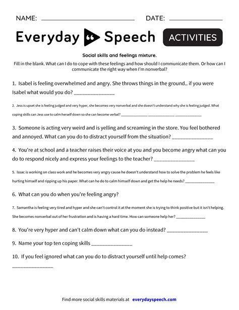 social skills and feelings mixture everyday speech everyday speech