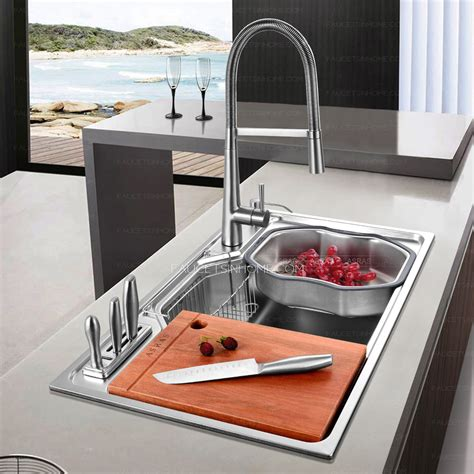 faucet sink kitchen practical large capacity single bowl stainless steel