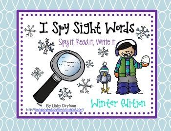 spy sight words winter  images cvc words