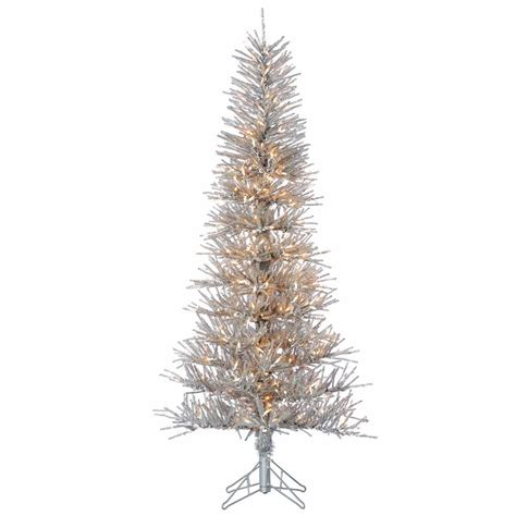 sterling 6 ft pre lit silver tinsel twig christmas tree
