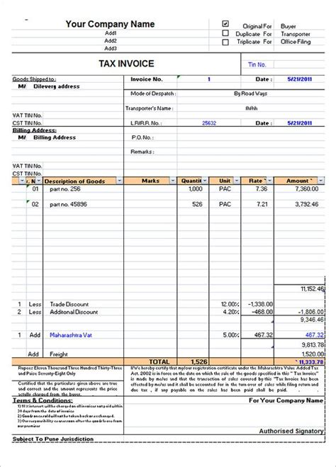 tax invoice format  excel invoice format