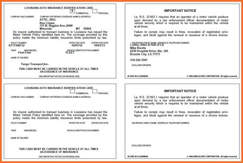 Auto Insurance Card Template by Vehicle Insurance Card Vehicle Ideas