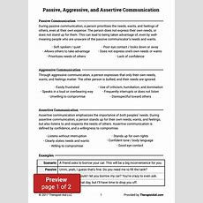 Passive, Aggressive, And Assertive Communication (worksheet)  Therapist Aid